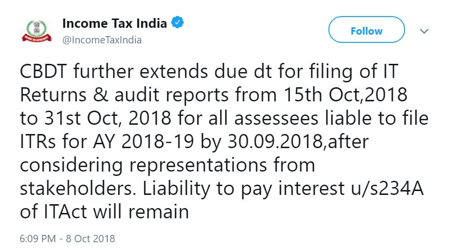 BREAKING: CBDT extends due date for filing Income Tax